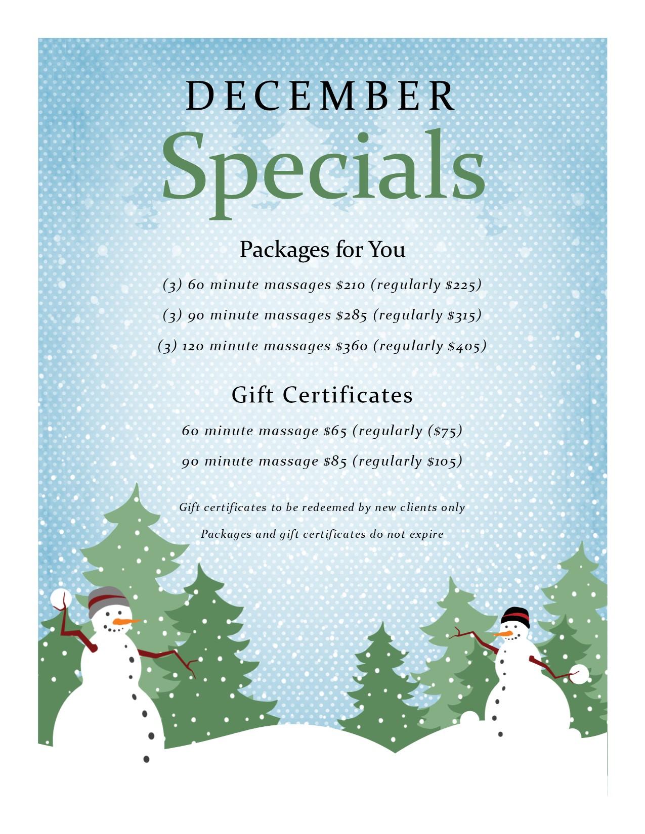 December 2017 Massage specials