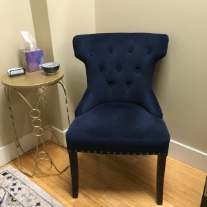 Chair removed to conform to new cleaning and disinfecting guidelines